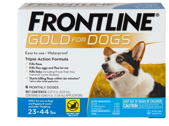 package of Gold for dog size M, showing brown and white dog 2 to 44 pounds