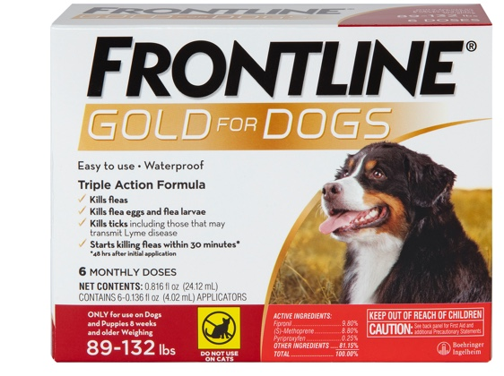 Package of Gold for dogs, showing gray and brown XL dog. 89 to 132 pounds