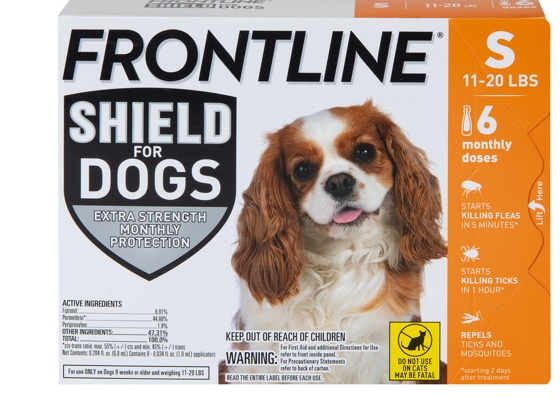 package of Shield for dog size S, showing white and brown dog 11 to 20 pounds