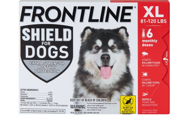 Package of Shield for dogs XL, showing gray and white dog. 81 to 120 pounds