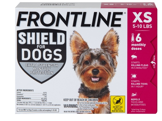 Package of Shield for dogs XS, showing gray and brown dog. 5 to 10 pounds