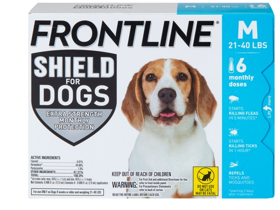 package of shield for dog size M, showing brown and white dog 21 to 40 pounds