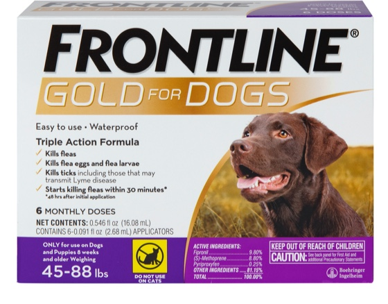 Frontline gold package with brown large dog