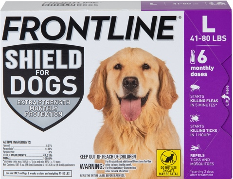 frontline shield package with large brown dog