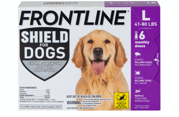package of shield for dog size L, showing brown dog. 41 to 80 pounds